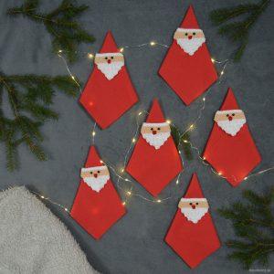 Virkade servettringar till jul – Tomtar!